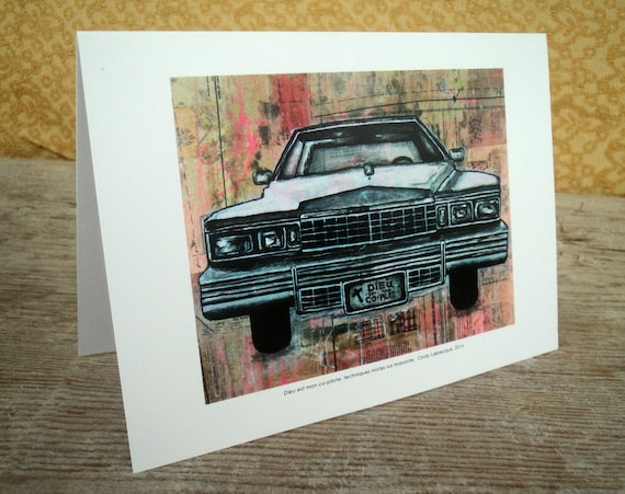 Vintage car blank greeting card