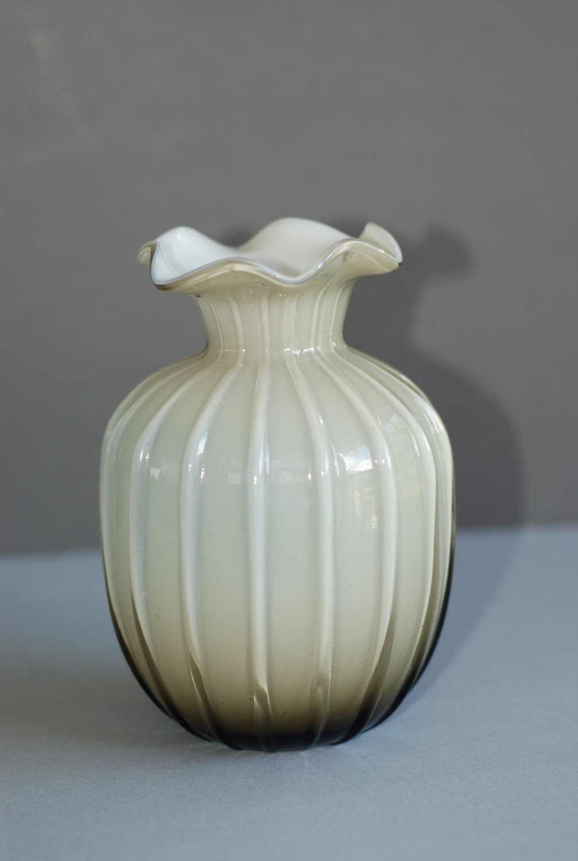 Fenton Vase Cased Glass Vintage Ribbed Ruffled Top Shades of Ruffled Glass Vase