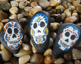 Skulls Day of the Dead Sugar Skulls Painted Rock Art