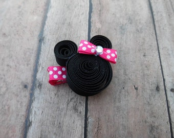 Minnie Mouse Inspired Ribbon Sculpture Hair Clip