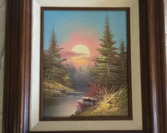 Beautiful sunset oil painting signed by the artist