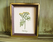 Vintage Tansy Flower Cross Stitch | Small Framed Wall Art