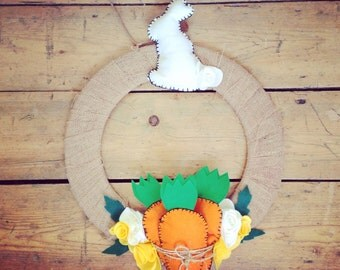 Easter wreath with carrots and bunny