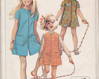Vintage Simplicity 7406 Girls size 10 romper type dress/jumper