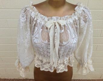Style #1312 Vintage lace Goddess gypsy top