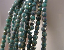 HEAVY SKIES 2mm Turquoise Bronze Picasso Firepolish Czech Glass Faceted Round Beads - Aqua Grey Blue Teal Turquoise - Qty 50 2-027