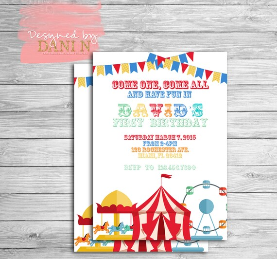 Circus Birthday Invitation Carnival Party Invite Carrousel 1st