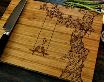 Personalized Cutting Board, Wedding Gift, Custom Engraved, Tree, Love Birds, Initials, Hostess Gift, Christmas Gift, Housewarming Gift