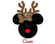 Disney Christmas Minnie Reindeer Printable Iron On Transfer or Use as Clip Art - DIY Disney Christmas Shirt - Minnie Silhouette Rudolph