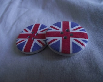 Union Jack wood buttons 30mm