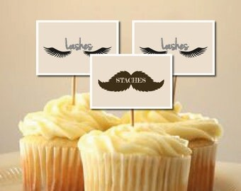 "Baby Gender Reveal Party Staches or Lashes Cupcake Toppers 2-1/4"" x 1-1/2"" INSTANT DOWNLOAD"