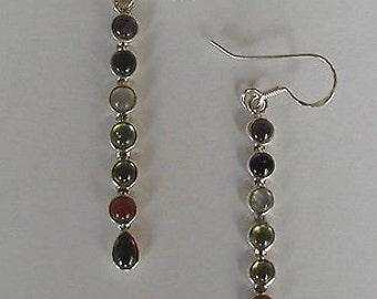 Sterling Silver Chakra Wand Earrings Long Drop Earrings Chakra Reiki Healing