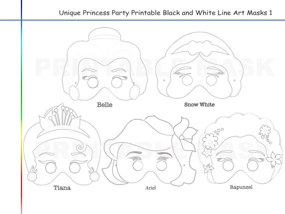 Coloring Pages Princess Party Printable Black and White Line