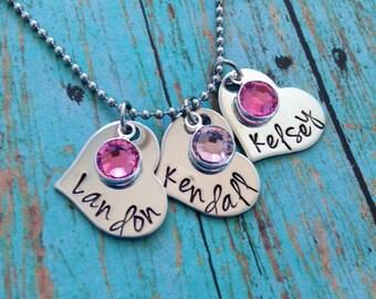 Personalized Name Monogram Heart Necklace with Swarovski Crystal Birthstones