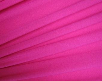Deep Pink Cotton Lycra Solid Knit Jersey Fabric Four way Stretch Spandex Fabric by the Yard