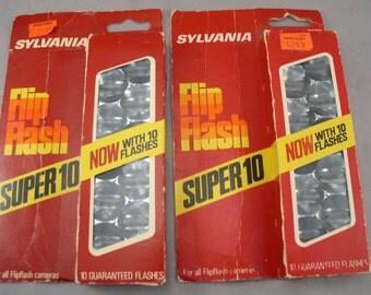 2 Boxes Sylvania Super 10 FLIP FLASH Bulbs - 20 Flashes - 1970s Old Store Stock - Vintage Camera