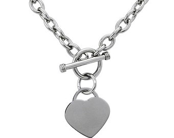 Stainless Steel Heart Tag Charm Toggle Necklace