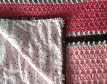 Pink Baby Blanket for Girl, Soft Lined Fabric Baby Afghan, Stripes Baby Blanket