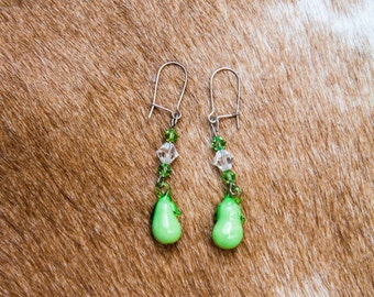 Glass Pear Earrings
