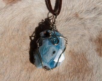 Aqua Crackle Agate Necklace