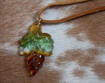 Autumn Glass Leaf Pendant Necklace