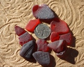 11 pieces  of red genuine surf tumbled seaglass