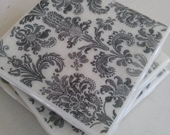 READY TO SHIP Black And White Damask Coasters, Ceramic Tile Coasters, Cork Coasters set of 4