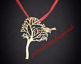 Bird tree charm necklace choker silver tone nickle free