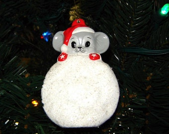 Mouse on a Snowball Ceramic Christmas Ornament - Ceramic Ornaments - Mouse Ornaments - Tree Ornaments - Christmas Ornaments