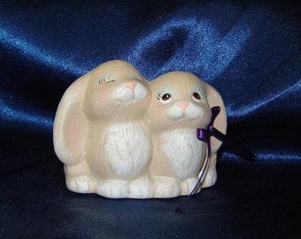 Ceramic Bunnies - Ceramic Rabbits - Ceramic Bunny with Dark Purple Ribbon - Ceramic Easter Bunny