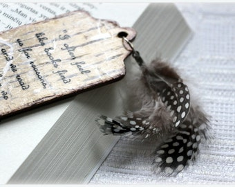 It's ALL ABOUT the BOOKS *Bookmark *Gorgeous decoupage bookmark with dotted feathers