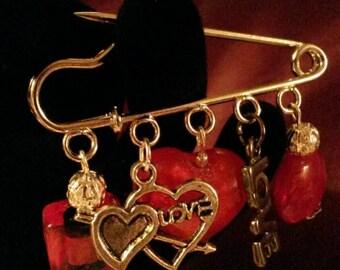 """Handmade love heart pin brooch (""""antique silver"""")"""
