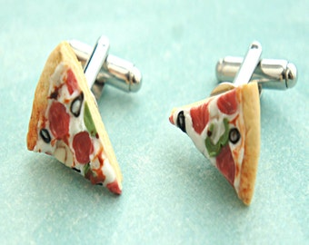 supreme pizza cuff links- miniature food,pizza tie tacks