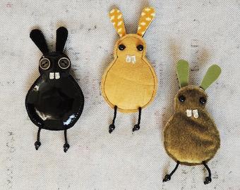 Fabric rabbit brooch