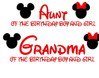 Mickie Minnie Disney Grandma Grandpa Aunt Uncle Best Friend Family of the Birthday Boy Girl Shirt