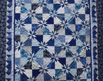 Blue Hot Flash Twin Quilt - Blue, Silver and White Snowflakes