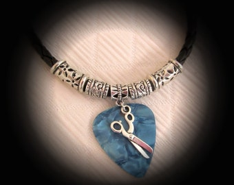 Guitar Pick Necklace with Scissors