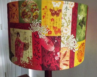 Japanse lampshade oritental red gold green cream geisha girl decoupage