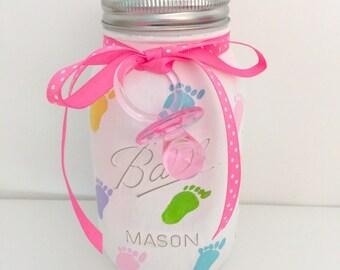 Baby Shower Mason Jar Centerpiece or Nursery Decor Flower Vase Footprint Centerpiece