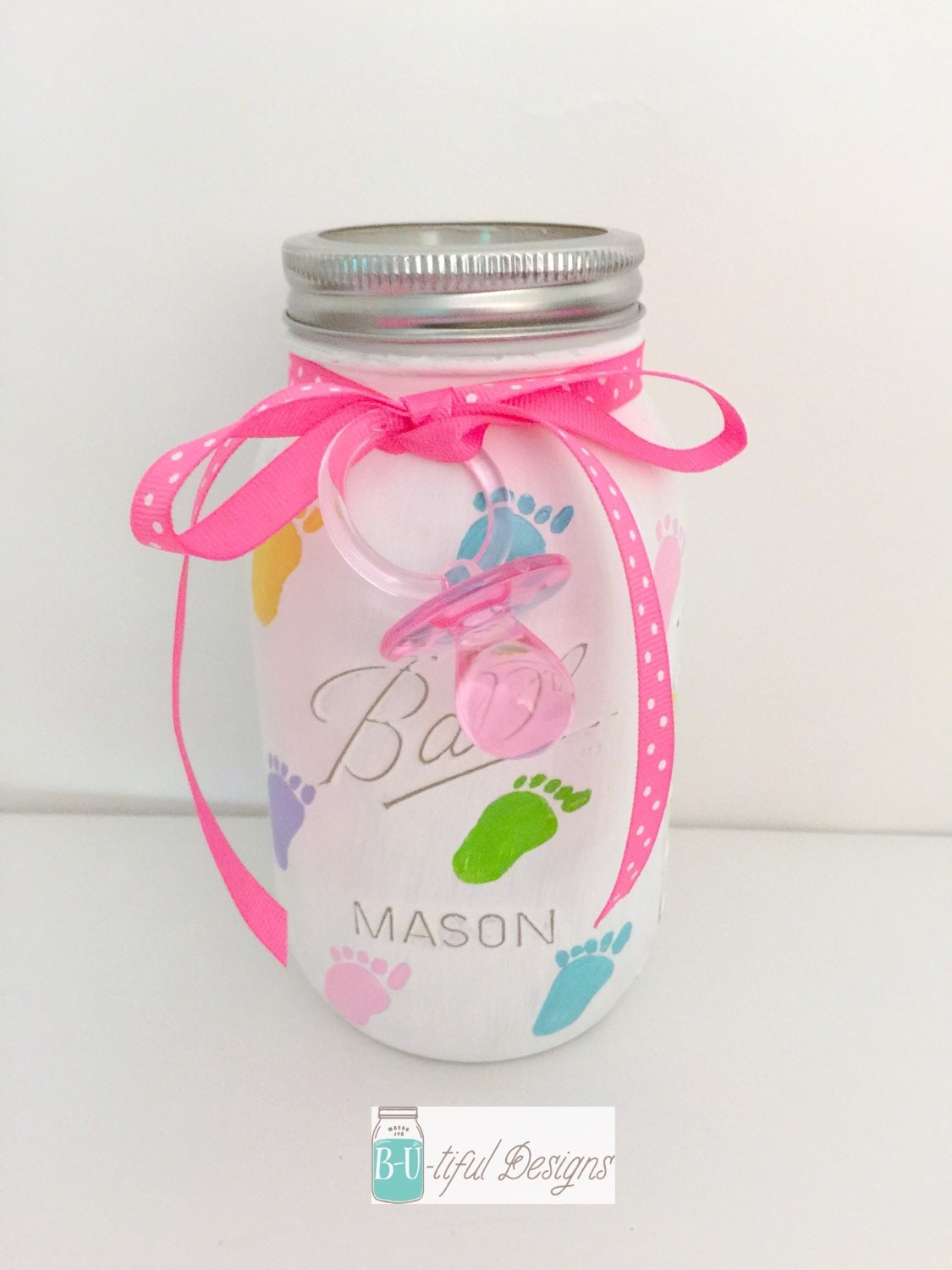 baby shower mason jar centerpiece or nursery by butifuldesigns