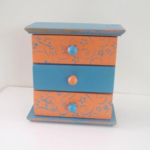 Girls Jewelry Keepsake Box, Jewelry wooden box - Orange-blue  Spring gifts, Jewelry Box, Jewelry Organizer, 3 Drawer