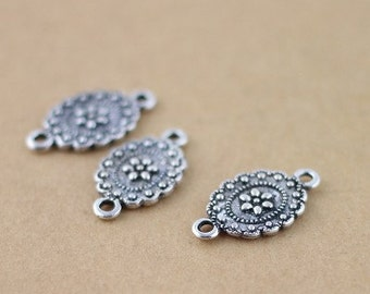 100PCS Antique silver toned filigree charms connector with 2 holes, 11x18mm, Jewelry Accessories- A472