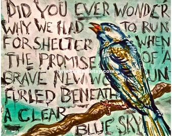 "Pink Floyd Print ""Clear Blue Sky"" Lyrics Bird Painting"