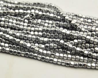 "15.5"" Hematite Bright Silver Square Face Beads 3mm"