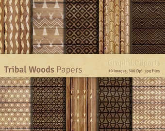 """Tribal Wood Digital Papers. """"RUSTIC WOOD BACKGROUNDS"""". Tribal Patterns, Aztec Backgrounds. 10 images, 300 Dpi. Jpg files. Instant Download."""
