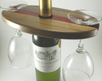 Wood wine and glass holder display