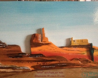 """relief on wood- acrilyc """"Monument Valley"""""""