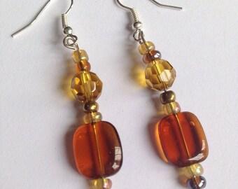 Amber glass beaded earrings