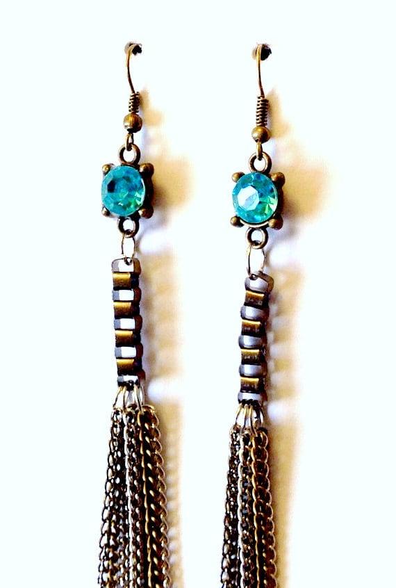 turquoise tassel earrings bronze silver tassel earrings