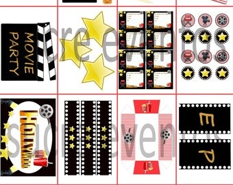 Printable party kit decoration party candy bar printable kit party decoration hollywood printable movie party movie decoration